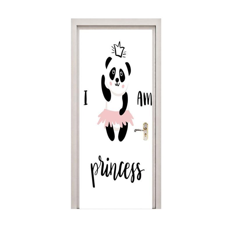 1pc Panda Pattern Door Sticker Removable Decorative Waterproof Renovation Door Decals Door Sticker For Restaurant Cafe Hotel