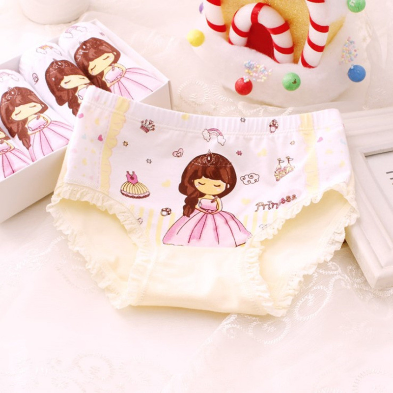 4pcs/set New Cotton Boxer Briefs Princess Girls Underwear Children Kids Baby Cartoon Panties Lace Cute Underpants Girls Brief