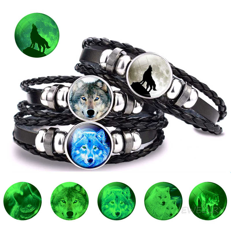 Incandescente Lupo Braccialetto Luminoso Glow In Scuro Lupo Testa Punk Nero In Pelle Intrecciata Luminoso Gioielli Unisex Animale Bracciali