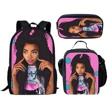 NOISYDESIGNS Black Art Afro Lady Girls School Bags Kids 3pcs Bag Set Children Preppy Bookbags Students Rucksack