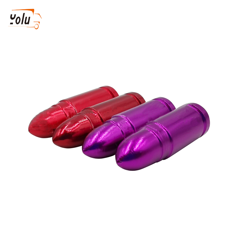YOLU Aluminum Bullet Car Truck Air Port Cover Tire Cone Rim Valve Wheel Stem Caps Red/Purple/Gold/Blue/Silver