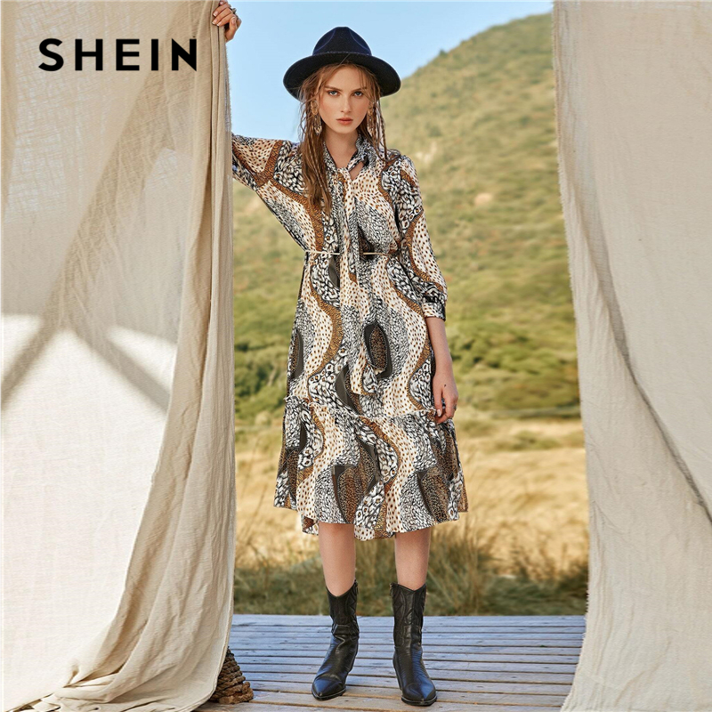 SHEIN Multicolor Tie Neck Ruffle Hem Allover Print Belted Dress Women 2020 Spring Bishop Sleeve A Line Bohemian Long Dresses 2
