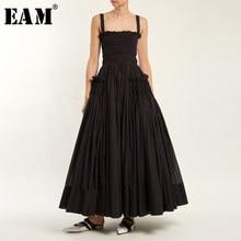 [EAM] 2021 printemps été mode nouveau couleur unie décontracté femmes blanc fronde dos nu plissé rétrécissement taille mince robe Vintage LA670
