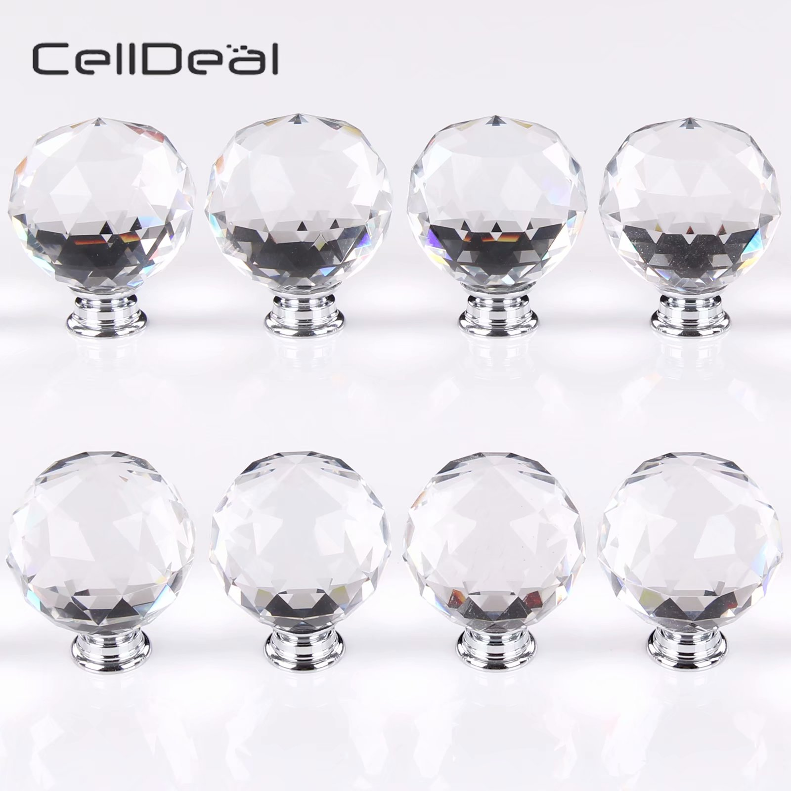 CellDeal 8 x 50mm Crystal Handle Clear Diamond Drawer Furniture Glass Door Knobs Cupboard Cabinet Wardrobe Handles Hardware