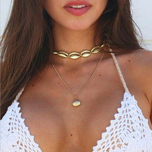 2019 New Seashell Beach Tassel Shell Necklace For Women Bohemian Gold Necklaces Jewelry(China)