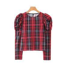 Blusas Mujer De Moda UK Style Plaid Checkered Long Puff Sleeve Shirts Womens Korean Top Casual Elegant Tops