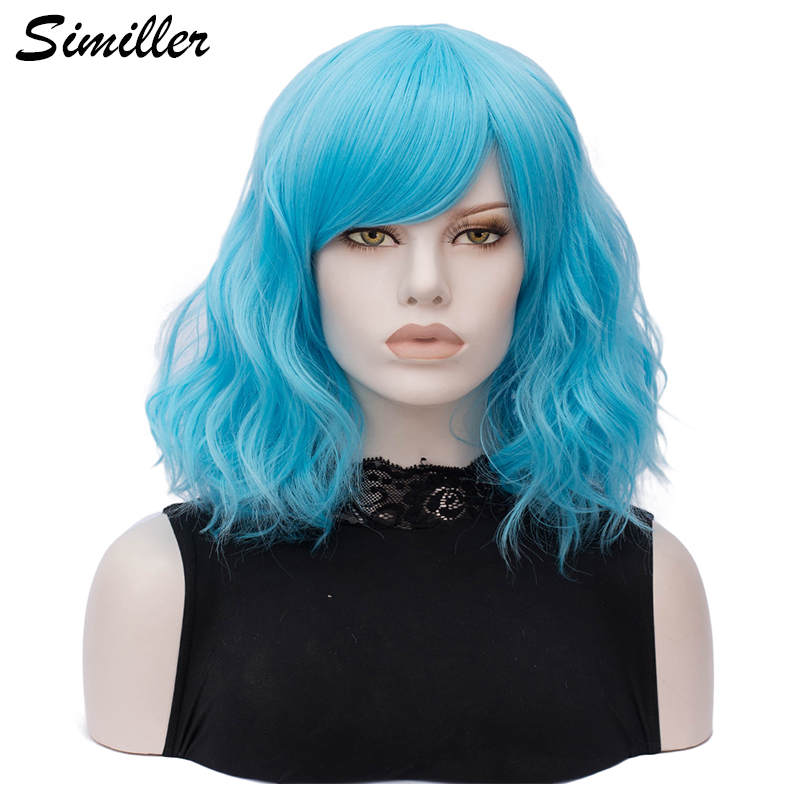Similler Women Short Hair Synthetic Cosplay Wigs With Bangs Heat Resistance Blue Pink Gray Black White Wig