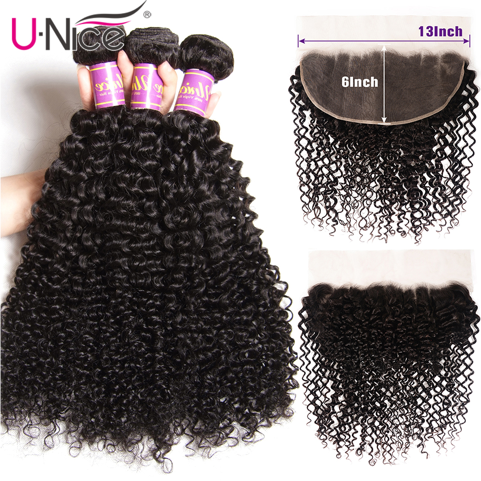 Unice Hair 13x6 Frontal  With 3 Bundles Brazilian Curly Hair Bundles Pre Plucked 13*6 Lace Frontal Closure With Bundles