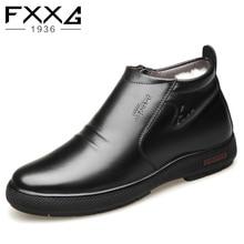 Novos sapatos de inverno para os homens: os sapatos dos homens quentes com couro e forro de lã, casuais de alta top sapatos de algodão e botas de tornozelo