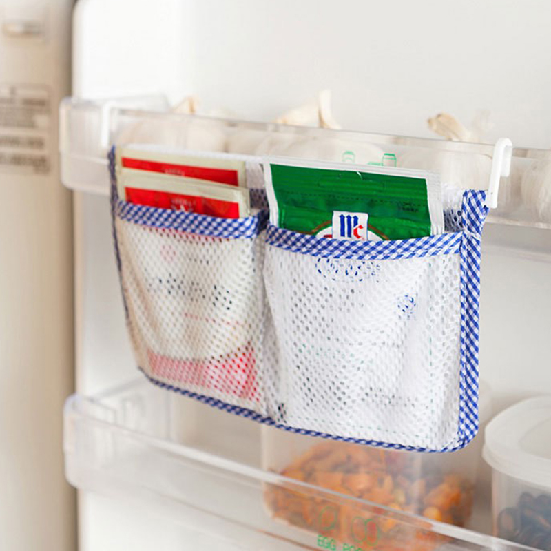 1pcs Kitchen Refrigerator Hanging Storage Bag Food Organizer Kitchen Cabinet Storage Pouch with 2 Hooks