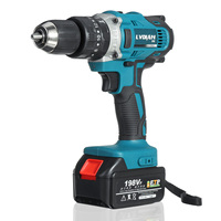 198VF Cordless Drill Impact Hammer Drill Electric Screwdriver With 1X Rechargeable Lithium Ion Battery 13mm 2 Speed Power Tool