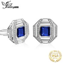 Jewelrypalace Oval Men's Created Sapphire Black Spinel Anniversary Engagement Wedding Cufflinks 925 Sterling Silver