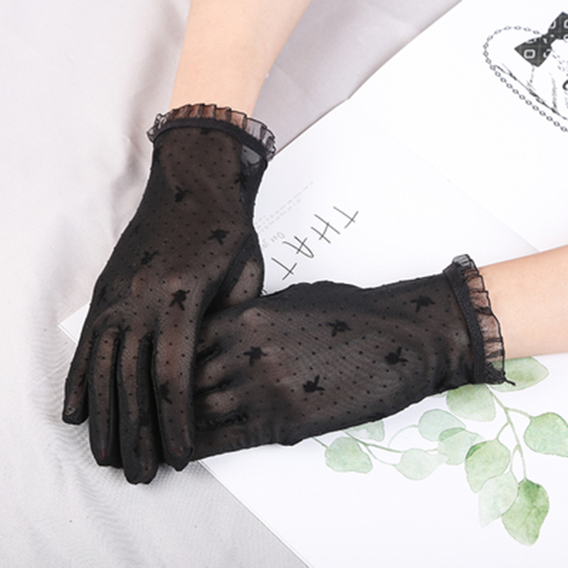 Summer Women Short Sunscreen Thin Ice Silk Driving Black Full Finger Sexy Lace Gloves UV Elasticity Rabbit Lace Cycling Slip D82
