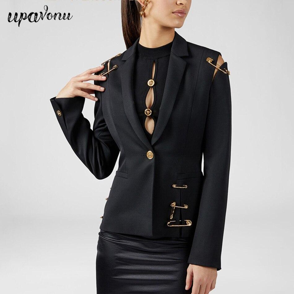 2019 hiver mode nouveau ajouré couture dentelle bouton costume manteau col en v femme Gap à manches longues mince élégant femme manteau