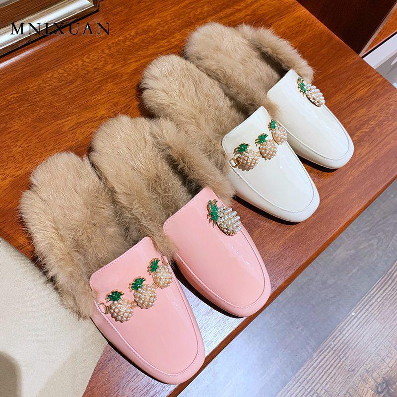 MNIXUAN femmes rose chaussures en cuir véritable chaussures plates femmes demi-chaussure dames mules avec fourrure strass sans lacet décontracté femmes chaussures