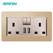British UK 13A Standard Wall Power Socket with USB and Light Switch Gentleman Noble Style Socket Luxury Stainless steel frame