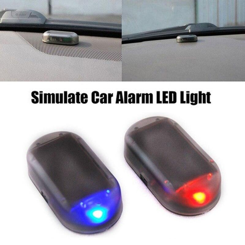 1 pc universal carro falso lâmpada de alarme de energia solar sistema de segurança aviso roubo flash piscando anti-roubo alarme de cautela led luz