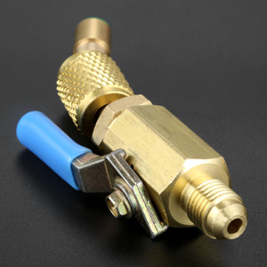 """Image 5 - 3 pièces robinet à tournant sphérique droit 1/4 """"adaptateur pivotant SAE pour R134a R410a R12 réfrigérant Auto climatisation outils de réfrigération"""