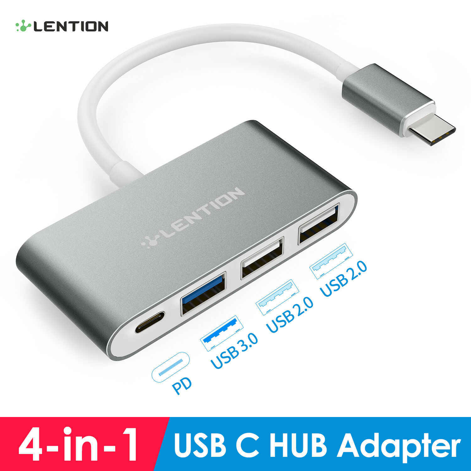 USB C Hub with Type C, USB 3.0, USB 2.0 Adapter for MacBook pro16 2019 , MacBook Air 2018 Pro 13/15 (Thunderbolt 3), ChromeBook
