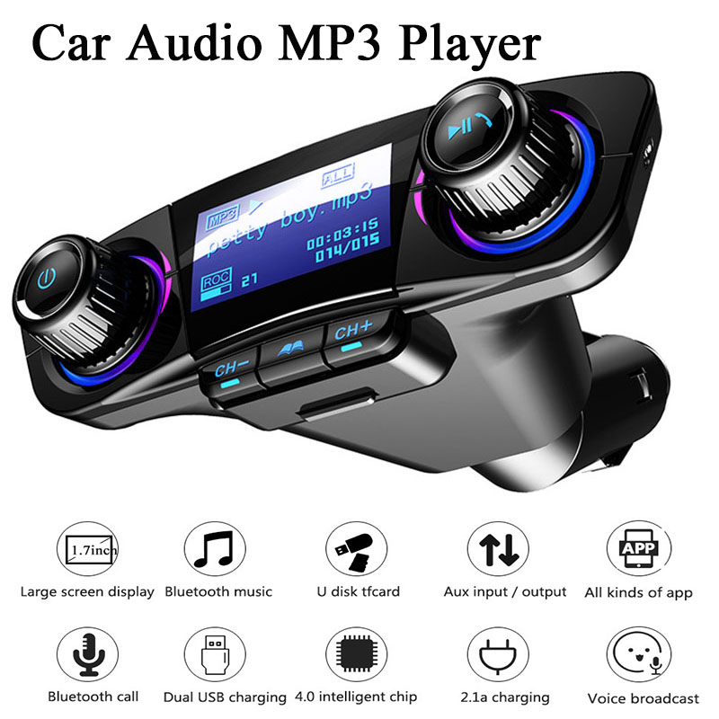 Car FM Transmitter Wireless Bluetooth Handsfree Auto Kit Aux Modulator MP3 Player TF Dual USB 2.1A Power ON OFF Display Audio