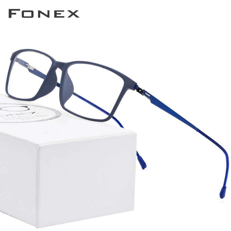 FONEX TR90 Alloy Glasses Frame Men Myopia Eye Glass Prescription Eyeglasses Frames 2019 Korean Screwless Optical Eyewear 9855