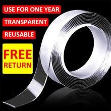 Cinta adhesiva de doble cara para cocina, Nano cinta reutilizable, Scotch, adhesivo de doble cara, pegamento lavable, discos para coche, 3M