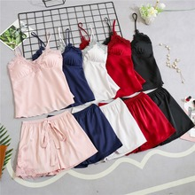 Women Pajamas Satin Sleepwear Pijama Silk Home Wear Lace Home Clothing Chest Pads Spaghetti Strap