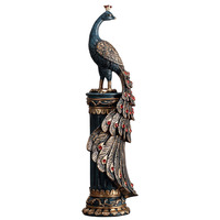 Chinese Antique Gilded Peacocks Statue Resin Animal Sculpture Room Decor Fengshui Ornament Home Decoration Accessories
