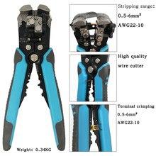Descascador de fio automático sh-371 alicates 0.5- 6mm2 awg22-10 multifuncional cabo cortador elétrico terminal ferramenta de friso kit