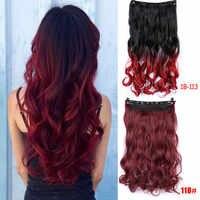 5 Clip dans l'extension de cheveux Ombre Blonde violet bleu noir pleine tête synthétique naturel bouclés ondulés postiche cheveux pièces