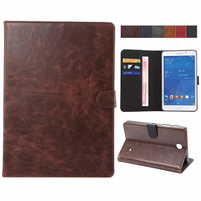For Samsung Galaxy Tab 4 7 Inch Crazy Horse Leather Leather Flip Stand Case Cover For Samsung T230 T231 T235 Tablet E-Books Case