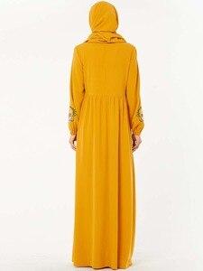Image 2 - Повседневное женское Платье макси с вышивкой в исламском стиле, кафтан плюс, винтажные свободные молитвенные платья, одежда из Турции, халат, Новинка