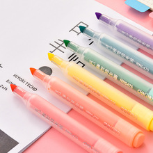 6 Colors/set Deli Candy Highlighters Fluorescent Marker Pens Kawaii Drawing Multicoloured Pen Office Stationery School Supplies