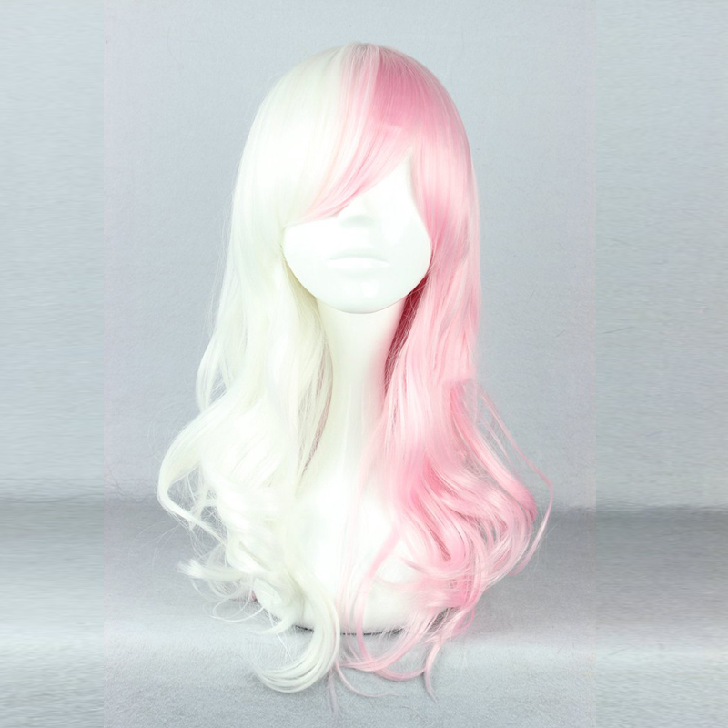 Anime Danganronpa Monomi Women Long Curly Wig Cosplay Costume Dangan Ronpa White Pink Mix Synthetic Hair Halloween Party Wigs