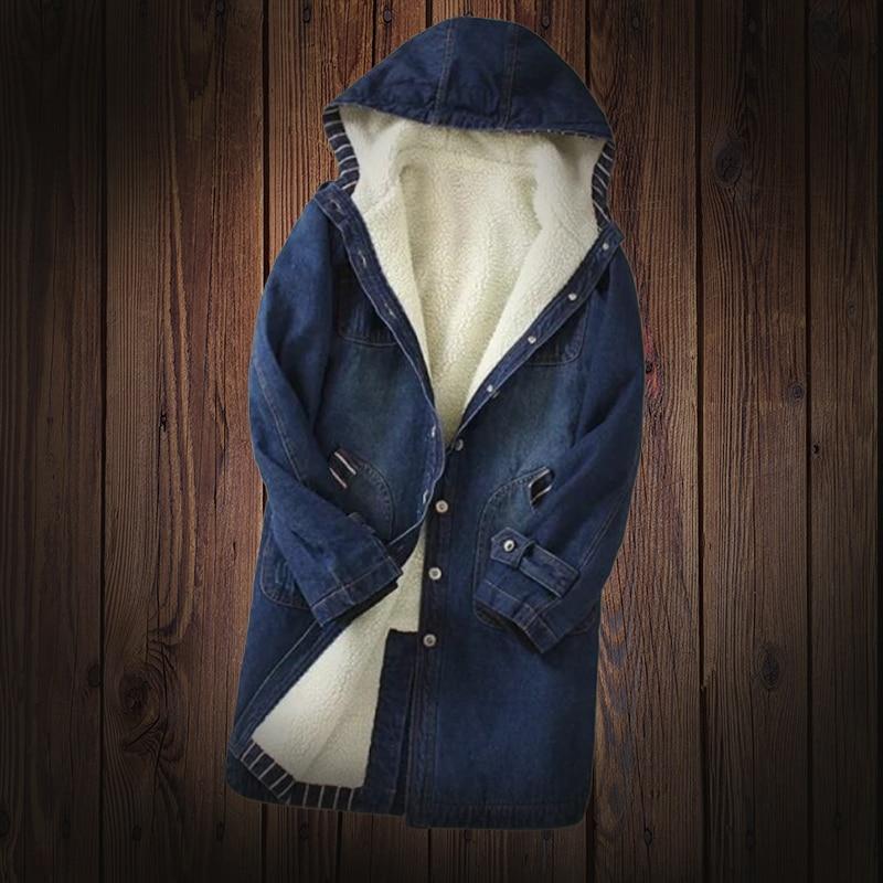 Spring Autumn Winter Women s jacket Hooded Denim Jacket Warm Fur Lining Long Outerwear Female Basic