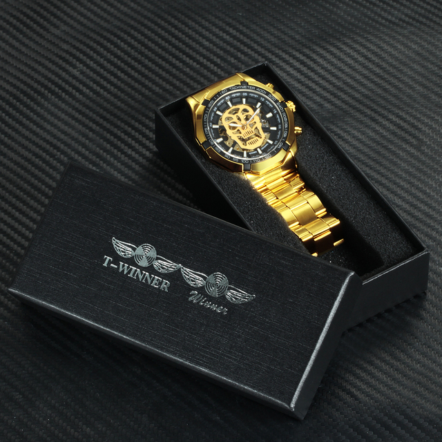 WINNER Official Golden Automatic Watch Men Steel Strap Skeleton Mechanical Skull Watches Top Brand Luxury Dropshipping Wholesale 6