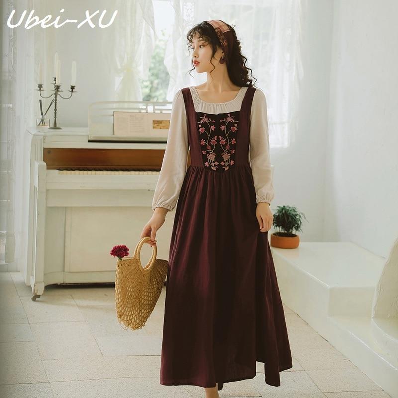 Ubei nouveau automne 2019 femmes à manches longues brodé vintage robes pastorales montrent mince longue robe