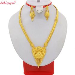 Adixyn 60 см/24 дюйма цепочка/серьги набор украшений для женщин золотой цвет/медь африканские/эфиопские/Дубай Свадебные/вечерние подарки N05211