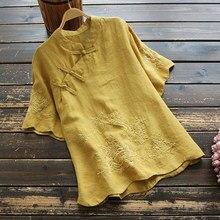 T-shirt en coton et lin pour femmes, nouveau Style folklorique, Vintage, brodé, à boutons, hauts 349