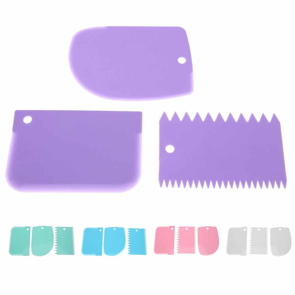 Plastic Cream Scraper Comb 3pcs Cake Cookies Decorating Tools