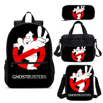 цена на 3D Boys Cute Bookbags With Lunch Box Ghostbusters Rugged Backpacks Children School Bags Set Kids School Backpack Mochila Escolar