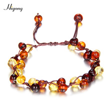все цены на Natural Amber Teething Bracelets Anklets Adjustable braided Handmade Original Baltic Amber Beads Jewelry For Baby Adult Gift онлайн