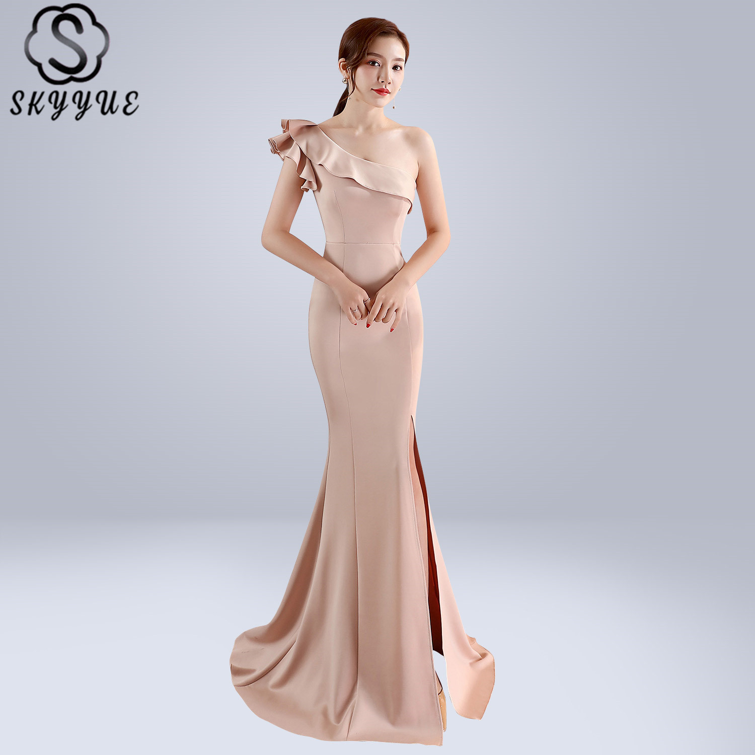 Skyyue Evening Dress Short Sleeve Split Women Party Dresses Ruffles Robe De Soiree 2019 Plus Size One Shoulder Formal Gowns C092