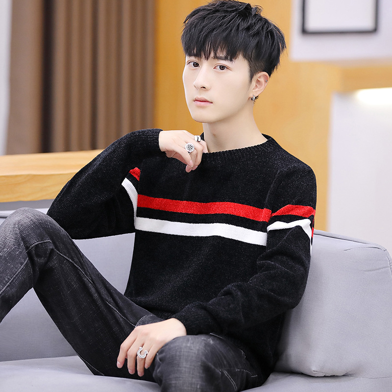 Fashion Fall Full O-neck Warm Men Sweater Casual Black Red Striped Mens Pullover Sweaters Standard Wool Black Grey Pullovers M