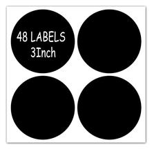3 inch Round Chalkboard Labels - Reusable Stickers , Used for Spice,Parties, Craft Rooms, kitchen -48Pcs