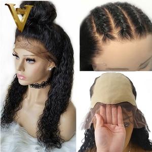 Image 1 - Pré arrancado 13x6 parte profunda frente do laço perucas de cabelo humano encaracolado peruca peruano remy do cabelo peruca frontal do laço para a onda de água das mulheres 130%