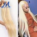 Missblue перуанский прямые волосы Мёд блондинка натуральные кудрявые пучки волос 613 Цвет полный 3 4 шт. Волосы Remy расширения 28 30 32 дюйма