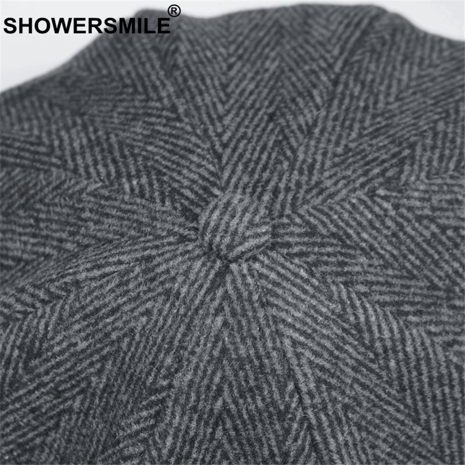 SHOWERSMILE Brand Wool Newsboy Caps Men Grey Herringbone Flat Caps Women Coffee British Gatsby Cap Autumn Winter Woolen Hats 4