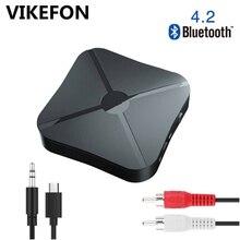 VIKEFON receptor y transmisor de Audio y música, adaptador inalámbrico estéreo, RCA 5,0 MM, clavija AUX para altavoz, TV, coche y PC, Bluetooth 4,2 3,5