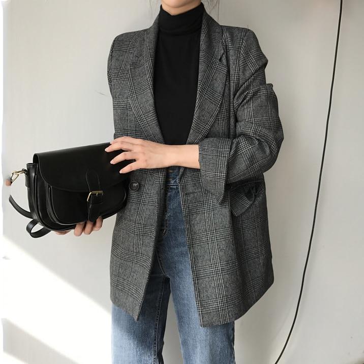 Autumn Spring Jacket Women Suit Coats Plaid Outwear Casual Turn Down Collar Office Wear Work Runway Jackets Blazer N785